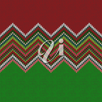 Seamless ethnic geometric knitted pattern. Style green white red background