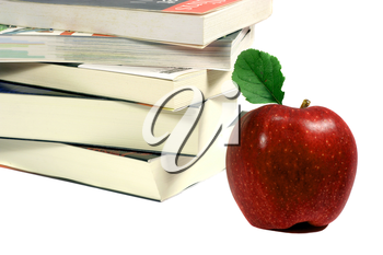 Royalty Free Photo of a Pile of Books and an Apple