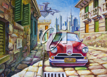 Royalty Free Clipart Image of a Car on a Cobblestone Street