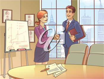 The young businessman and the businesswoman are glad to sign the contract and shaking the hands in the meeting room.  The archive includes: the editable layered vector EPS 10.0 and the Hi-res JPG fi