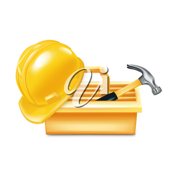 toolbox with hammer and hard hat isolated on white
