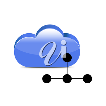 computing cloud isolated on white background