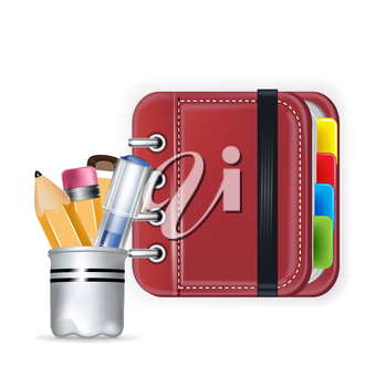 notebook icon with pencil box isolated on white