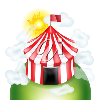 circus tent with coulds and sunny sky isolated on white background