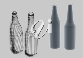 beer bottles on a gray background