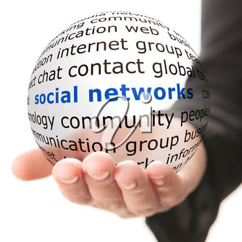 Transparent ball with inscription social network in a hand