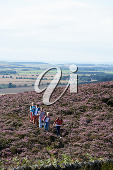 Group Of Young People Hiking Through Countryside