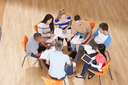 Overhead View Of Young People In Study Group