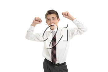Male high school student with arms raised accomplishment, achievement, success or victory.  White background.
