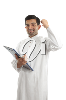 A middle eastern mixed r4ace businessman with clipboard folder and hand raised in success or victory.  White background.