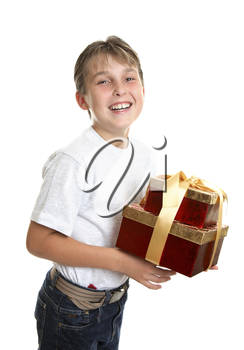 An excited and happy child carrying presents.