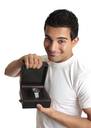 A friendly man or salesman holds a watch timepiece displayed in a box.