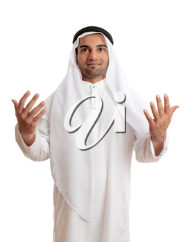 A happy arab middle eastern man with hands outstretched in praise and worship.  White background.