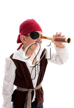 A young boy pirate looking through a monoscope in search of treasure or ships to plunder.  White background.