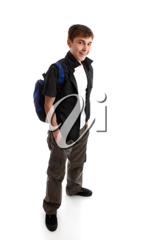 Student teenager carrying a backpack and smiling against a white background.