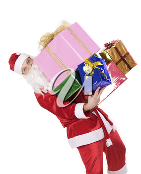 Portrait of happy Santa with heap of Christmas presents in hands