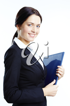 Portrait of elegant businesswoman with book in hand looking at camera