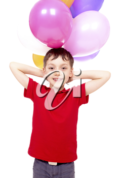 Happy boy with colorful balloons posing before camera