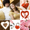 Collage of valentine day symbols and amorous people