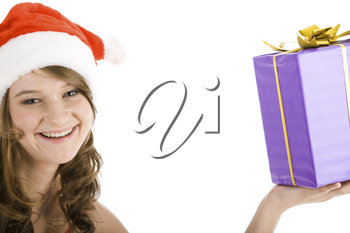 Face of young pretty woman with santa claus hat