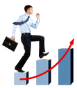 Image of happy businessman running upwards on chart column tops