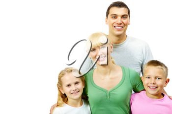 Portrait of happy smiling family on a white background