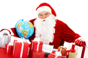 Portrait of Santa Claus with giftboxes looking at camera