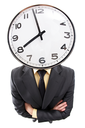 Distorted image of a businessman with clock instead of head
