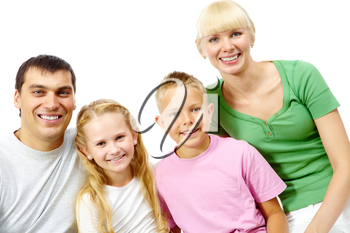 Portrait of happy four people together on a white background