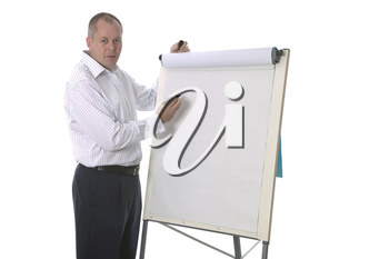 High key shot of a businessman about to write a presentation on a blank flip chart.