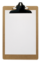 Clipboard with a blank piece of A4 paper isolated on a white background with clipping path.