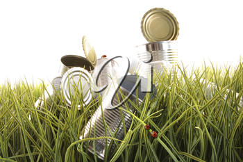 Royalty Free Clipart Image of Ladybugs on Empty Cans in the Grass
