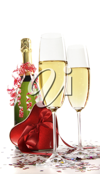Royalty Free Photo of a Champagne With a Box of Chocolates