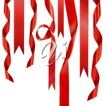 Royalty Free Photo of Hanging Red Ribbons