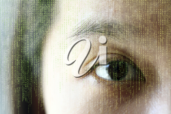 A woman's eye, showing reflection of random letters