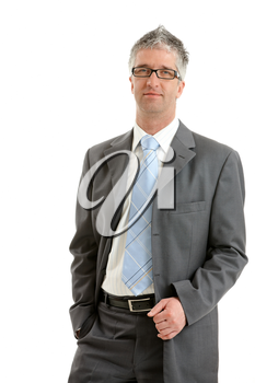 Portrait of serious businessman wearing gray suit with blue tie and glasses. Isolated on white background.