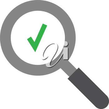 Vector grey magnifier with green check mark symbol.