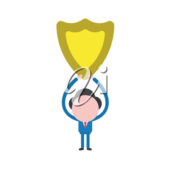 Vector illustration of businessman character holding up yellow shield guard icon.