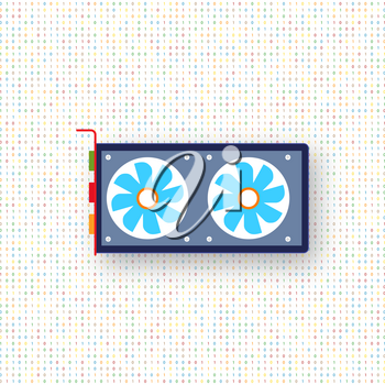 Computer graphics card on a digital background. Vector illustration .