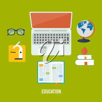 Books and laptop in flat design. Education concept