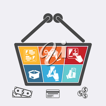 Shopping basket with icons of online e-commerce shop infographic internet purchase and delivery in flat design style.