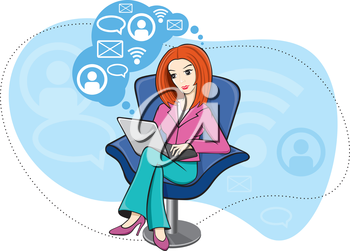 Young business woman girl sitting in chair and working on notebook and on social network cartoon design style
