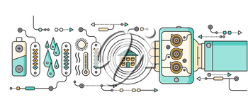 Concept of smart home and control device. Technology device, system mobile automation monitoring energy power electricity efficiency, equipment temperature, remote thermostat. Smart house illustration