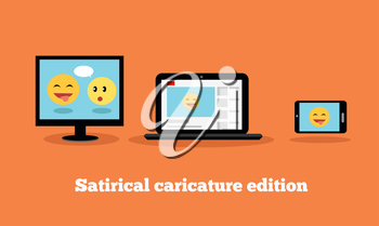 Satirical caricature edition design flat. Humorous edition. Internet site satirical on a smartphone, laptop. Funny video or picture on the screen. Vector illustration