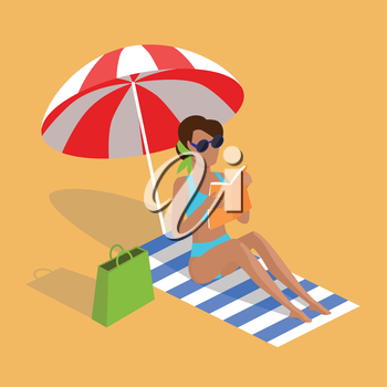 Summer vacation. Vector flat design. Leisure on tropical sunny seaside. Woman reading book in the shade of umbrella on a sand beach in the tropical country. Sunbathing and relaxing on the towel.