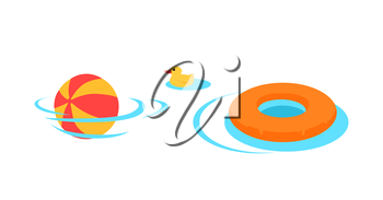 Inflatable toys for swimming vector. Flat style design. Family holidays, games in the water. Summer vacation, kids swimming lessons concept. Ball, rescue circle, rubber duck in te pool. On white,