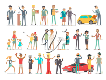 Collection of characters of different social level. People society concept. Rich and poor, successful and unfortunate, young and od, teenagers and aduts. Students and businessmen. Vector in flat style