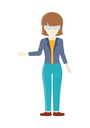 Cheerful young lady in front waving her hand. Business woman with brown hair and in blue pants and jacket. Isolated young personage. Flat design vector illustration