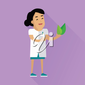 Scientist at work illustration. Vector in flat style design. Scientific icon. Smiling female character in white gown  with leafs in hand. Educational experiment. On violet background with shadow