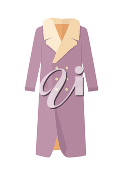 Warm coat with wool on neck. Elegant violet woman s fur coat flat vector isolated on white background. Luxury clothing for winter seasons. Outerwear for cold weather. For store ad, fashion concept.